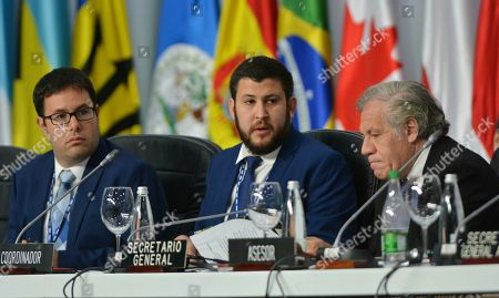 Dany Bahar, David Smolansky, Luis Almagro. Venezuelan opposition leaders Dany Bahar, from left, David Smolansky and Secretary General of the Organization of American States Luis Almagro, attend a session regarding the situation of Venezuelan migrants, during the 49th OAS General Assembly in Medellin, Colombia, . The OAS meeting is expected to focus on Venezuela's crisis, including the impact from an exodus of Venezuelans into neighboring nations. The regional body is also expected to take diplomatic measures to pressure the Maduro government to accept free elections with international monitoring