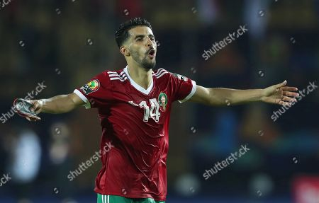 Stock Photo of Morocco's Mbark Boussoufa celebrates after  the 2019 Africa Cup of Nations (AFCON) group D soccer match between Morocco and the Ivory Coast at Salam Stadium in Cairo, Egypt, 28 June 2019.
