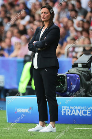 France's head coach Corinne Diacre reacts during the FIFA Women's World Cup 2019 quarter final soccer match between France and the USA in Paris, France, 28 June 2019.