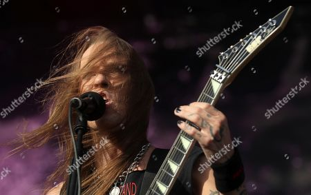 Alexi Laiho, member of Finnish band Children of Bodom peforms in the first day of Download Music Festival 2019 at Caja Magica sport complex in Madrid, Spain, 28 June 2019. The festival runs from 28 to 30 June.