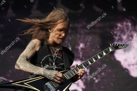 Stock Picture of Alexi Laiho, member of Finnish band Children of Bodom peforms in the first day of Download Music Festival 2019 at Caja Magica sport complex in Madrid, Spain, 28 June 2019. The festival runs from 28 to 30 June.