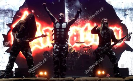 Lead singer Joakim Broden (C) performs with Swedish metal band Sabaton in the first day of Download Music Festival 2019 at Caja Magica sport complex in Madrid, Spain, 28 June 2019. The festival runs from 28 to 30 June.