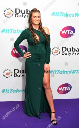 British tennis player Katy Dunne arrives at the Dubai Duty Free WTA Summer Party 2019 held at the Jumeirah Carlton Tower in London, Britain, 28 June 2019.