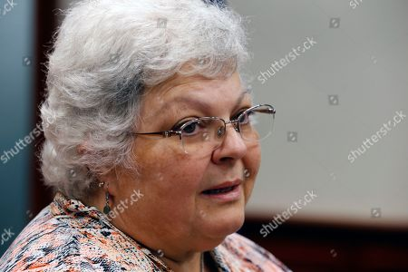 Susan Bro, mother of Heather Heyer who was killed in 2017 during a white supremacist rally, speaks to the media after the sentencing of James Alex Fields Jr. in federal court in Charlottesville, Va., . Fields was sentenced to life in prison for his role in a car attack during a white supremacist rally in 2017