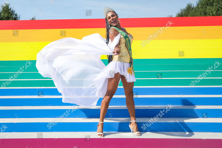 The Miss Brazil Gay 2009, Ava Simoes is photographed at the Franklin D. Roosevelt Four Freedoms Park on a ladder with the colors of the rainbow