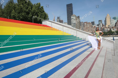 Stock Image of The Miss Brazil Gay 2009, Ava Simoes is photographed at the Franklin D. Roosevelt Four Freedoms Park on a ladder with the colors of the rainbow