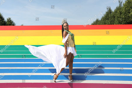 Stock Picture of The Miss Brazil Gay 2009, Ava Simoes is photographed at the Franklin D. Roosevelt Four Freedoms Park on a ladder with the colors of the rainbow