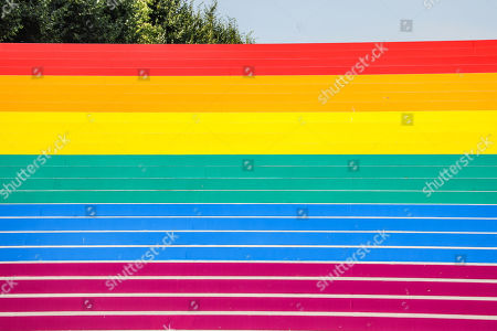 Stock Photo of A staircase is seen painted in the colors of the rainbow to celebrate International LGBT Pride Day at the Franklin D. Roosevelt Four Freedoms Park