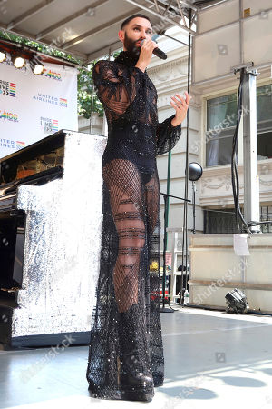 Conchita Wurst participates in the second annual Stonewall Day honoring the 50th anniversary of the Stonewall riots, hosted by Pride Live and iHeartMedia, in Greenwich Village, in New York