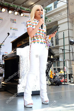 Donatella Versace participates in the second annual Stonewall Day honoring the 50th anniversary of the Stonewall riots, hosted by Pride Live and iHeartMedia, in Greenwich Village, in New York