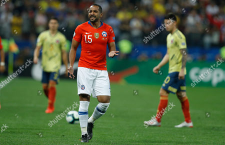 Chile's Jean Beausejour reacts during a Copa America quarterfinal soccer match against Colombia at the Arena Corinthians in Sao Paulo, Brazil