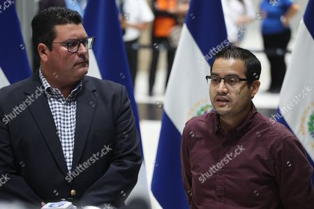Deputy Foreign Minister of El Salvador, Mauricio Cabrera (L), and the Consul of El Salvador in Monterrey, Rafael Rosales (R), answer questions from the press at the arrival from Mexico of Tania Avalos, mother of the Salvadorian girl Valeria that died with her father Oscar Martinez at the Rio Grande river trying to arrive to USA, to the Oscar Romero International Airport in San Luis Talpa, El Salvador, 28 June 2019.