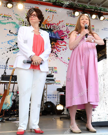 Valerie Jarrett, Chelsea Clinton. Valerie Jarrett, left, and Chelsea Clinton participate in the second annual Stonewall Day honoring the 50th anniversary of the Stonewall riots, hosted by Pride Live and iHeartMedia, in Greenwich Village, in New York