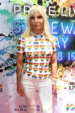 Donatella Versace attends the second annual Stonewall Day honoring the 50th anniversary of the Stonewall riots, hosted by Pride Live and iHeartMedia, in Greenwich Village, in New York