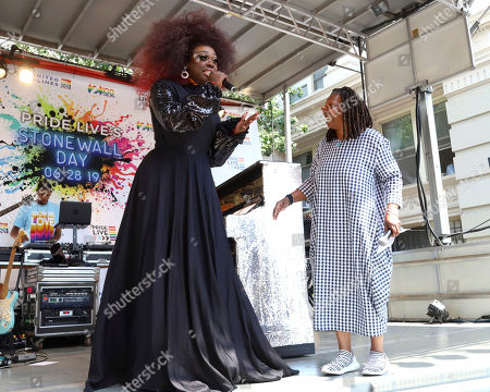 Bob the Drag Queen, Whoopi Goldberg. Bob the Drag Queen, left, and Whoopi Goldberg participate in the second annual Stonewall Day honoring the 50th anniversary of the Stonewall riots, hosted by Pride Live and iHeartMedia, in Greenwich Village, in New York
