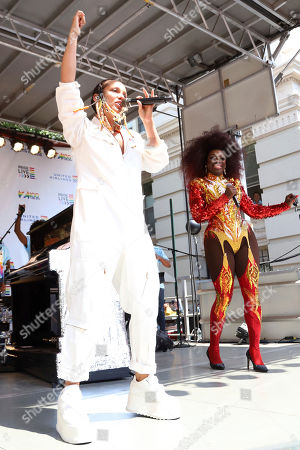 Alicia Keys, Bob the Drag Queen. Alicia Keys, left, and Bob the Drag Queen participate in the second annual Stonewall Day honoring the 50th anniversary of the Stonewall riots, hosted by Pride Live and iHeartMedia, in Greenwich Village, in New York