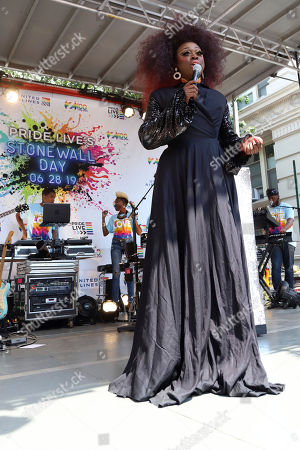 Bob the Drag Queen participates in the second annual Stonewall Day honoring the 50th anniversary of the Stonewall riots, hosted by Pride Live and iHeartMedia, in Greenwich Village, in New York