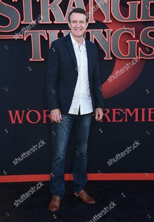 "Joe Chrest arrives at the season three premiere of ""Stranger Things"" at Santa Monica High School, in Santa Monica, Calif"