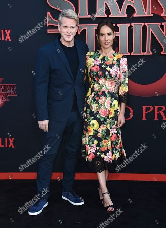 """Stock Picture of Cary Elwes, Lisa Marie Kubikoff. Cary Elwes, left, and Lisa Marie Kubikoff arrive at the season three premiere of """"Stranger Things"""" at Santa Monica High School, in Santa Monica, Calif"""
