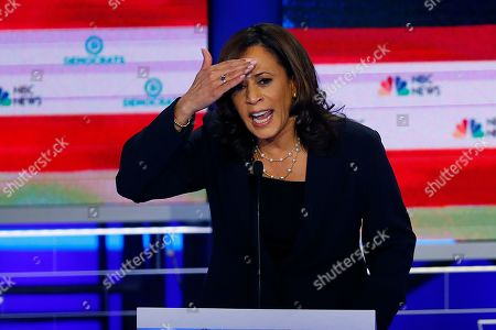 Democratic presidential candidate Sen. Kamala Harris, D-Calif., gestures during the Democratic primary debate hosted by NBC News at the Adrienne Arsht Center for the Performing Arts in Miami