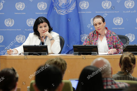 Maria Fernanda Espinosa Garces (right), President of the seventy-third session of the General Assembly, briefs press. On the left is Monica Grayley, Spokesperson for the President today at the UN Headquarters in New York.