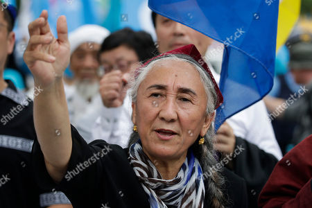 Stock Image of Uyghur human rights activist Rebiya Kadeer protests against the Chinese government during a rally on the last day of the G-20 summit, in Osaka, Japan