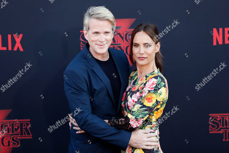 English actor Cary Elwes and his wife actress Lisa Marie Kubikoff pose for the photographers on the red carpet prior to the premiere of 'Stranger Things: Season 3' in Santa Monica, California, USA, 28 June 2019. The TV show will be released on 04 July.
