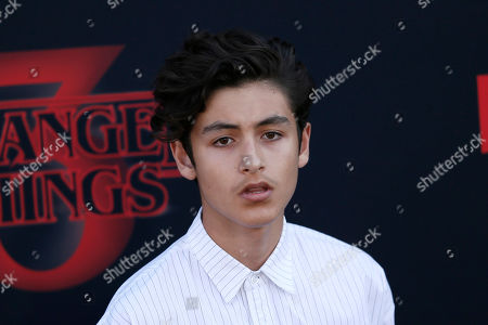 Puerto-Rican actor Marcel Ruiz poses for the photographers on the red carpet prior to the premiere of 'Stranger Things: Season 3' in Santa Monica, California, USA, 28 June 2019. The TV show will be released on 04 July.