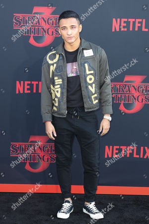 Stock Photo of Brandon Perea poses for the photographers on the red carpet prior to the premiere of 'Stranger Things: Season 3' in Santa Monica, California, USA, 28 June 2019. The TV show will be released on 04 July.