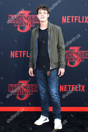 Stock Photo of Israel Broussard poses for the photographers on the red carpet prior to the premiere of 'Stranger Things: Season 3' in Santa Monica, California, USA, 28 June 2019. The TV show will be released on 04 July.