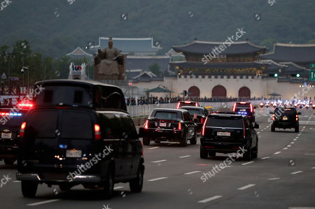 """The motorcade of U.S. President Donald Trump drive to the presidential Blue House to meet with South Korean President Moon Jae-in in Seoul, South Korea, . North Korea said Saturday President Donald Trump's offer to meet leader Kim Jong Un at the Korean Demilitarized Zone is a """"very interesting suggestion,"""" brightening prospects for a third face-to-face meeting between the two leaders"""