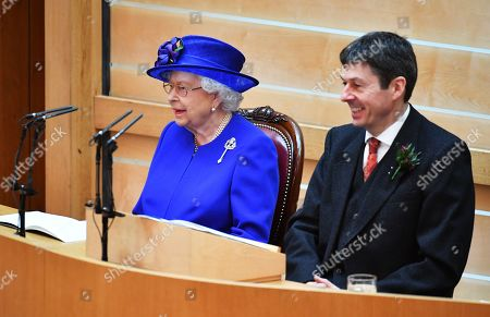 Queen Elizabeth II, alongside Ken Macintosh, Presiding Officer of the Scottish Parliament, as she attends a ceremony to mark the 20th Anniversary of the Scottish Parliament in Edinburgh, Scotland, 29 June 2019. The ceremony took place almost two decades to the day since the Scottish Parliament officially assumed its legal powers.