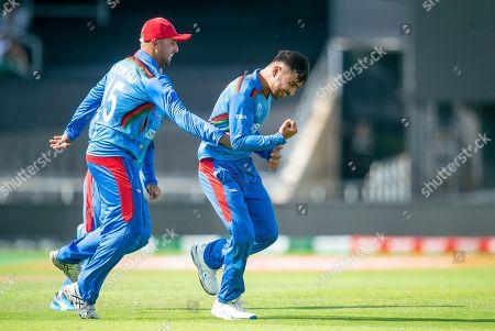 Afghanistan's Rashid Khan celebrates dismissing Pakistan's Haris Sohail.