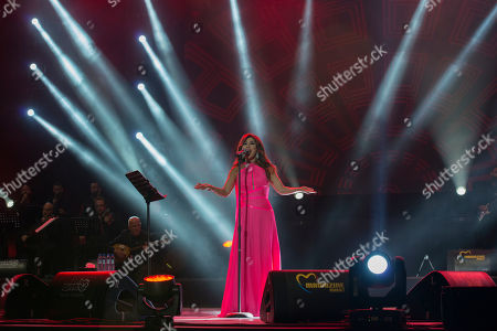 Stock Photo of Najwa Karam performs on stage during the 18th International Mawazine Music Festival in Rabat, Morocco, 28 June 2019, issued 2019. The festival will run from 21 June to 29 June 2019.