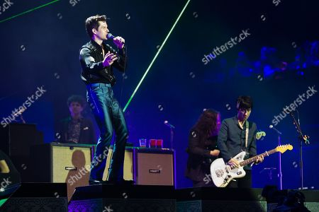 Brandon Flowers with The Killers performing on the Pyramid Stage, with guest star appearance with Johnny Marr