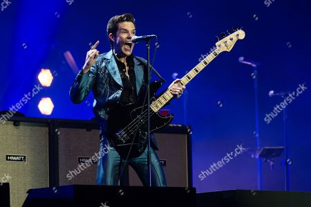 The Killers performing on the Pyramid Stage. Brandon Flowers