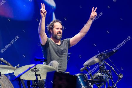 The Killers performing on the Pyramid Stage. Ronnie Vannucci Jr.