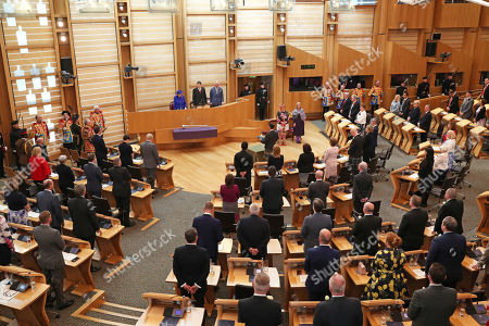 Queen Elizabeth II and the Duke of Rothesay attend a ceremony marking the 20th anniversary of devolution in the Holyrood chamber at the Scottish Parliament in Edinburgh.