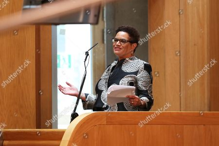 Scottish Makar Jackie Kay speaks before the Queen and the Duke of Rothesay during a ceremony marking the 20th anniversary of devolution in the Holyrood chamber at the Scottish Parliament in Edinburgh.