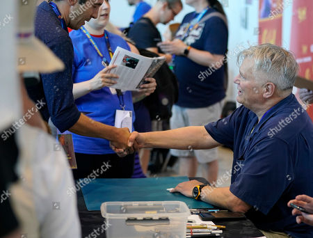 Richard Dean Anderson (R) gives autographs at the Comic Con Germany in Stuttgart, Germany, 29 June 2019. The Comic Con Germany takes place from 29 to 30 June.
