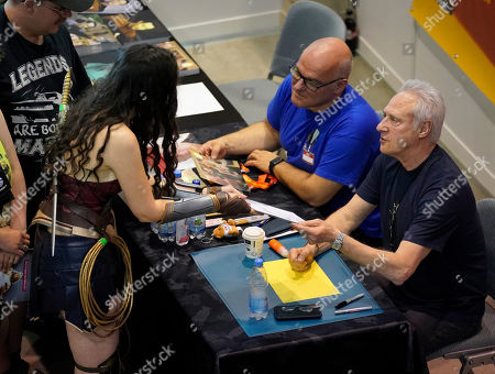 Brent Spiner (R) gives autographs at the Comic Con Germany in Stuttgart, Germany, 29 June 2019. The Comic Con Germany takes place from 29 to 30 June.