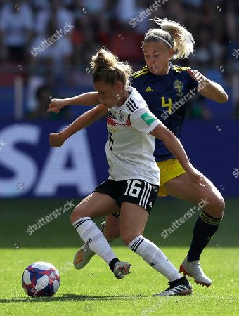 Sweden's Hanna Glas, right, challenges Germany's Linda Dallmann, left, during the Women's World Cup quarterfinal soccer match between Germany and Sweden at Roazhon Park in Rennes, France