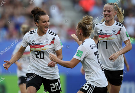 Germany's Lina Magull, left, celebrates with teammate Linda Dallmann after scoring her side's first goal during the of the Women's World Cup quarterfinal soccer match between Germany and Sweden at Roazhon Park in Rennes, France