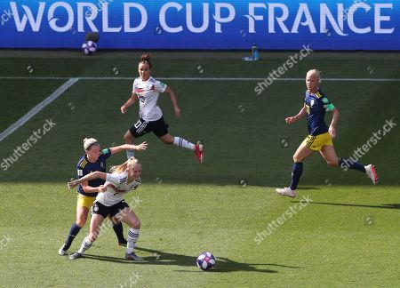 Stock Photo of Lea Schueller of Germany holds off Linda Sembrant of Sweden