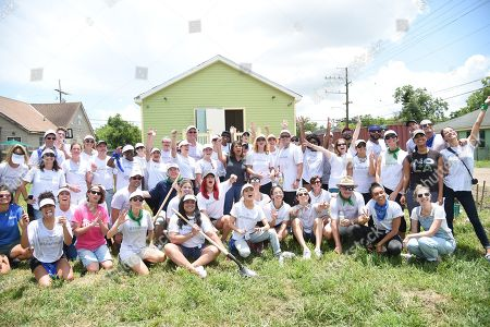 Stephanie Giordano, Famous Rhodes, Jennifer Williams, Sharna Burgess, Sasha Pieterse, Olivia Jordan, Jason Lewis, Annie Ilonzeh, Anne Winters, Brandon Larracuente, Paulette Kam, and Taylor Beau Makohoniuk join Bluegreen Vacations and New Orleans area Habitat for Humanity to construct a home in the Lower 9th Ward in New Orleans, LA @bgvmarquee #onyourmarquee #bluegreenvacations @habitatnola