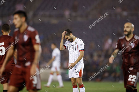 Chivas forward Oribe Peralta, right, reacts during the second half of a Colossus Cup soccer match against River Plate, in San Diego