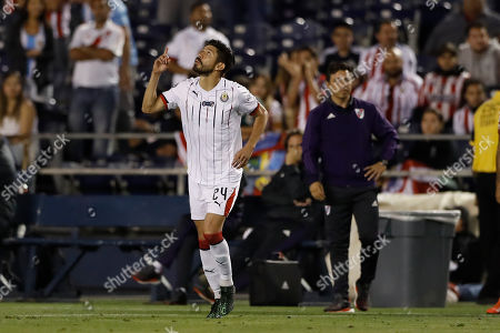Chivas forward Oribe Peralta reacts during the second half of a Colossus Cup soccer match against River Plate, in San Diego
