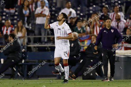 Stock Image of Chivas forward Oribe Peralta reacts during the second half of a Colossus Cup soccer match against River Plate, in San Diego