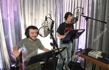 Atticus Shaffer and Richard Honig practice voice over skills during It's Not Just a Cartoon 2019: A Celebration of Diversity in Animation at the Television Academy, in Los Angeles