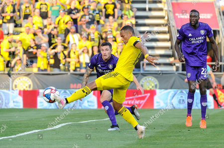 Columbus Crew SC forward Robinho (18) attempts to connect on a cross with Orlando City defender Kyle Smith (24) looking on in the first half of the match between Orlando City and Columbus Crew SC at MAPFRE Stadium, in Columbus OH. Mandatory Photo Credit: Dorn Byg/Cal Sport Media. ..Orlando City 1 - Columbus Crew SC 0 after the first half